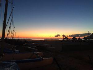 partenza all'alba dal mare